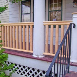 Square balusters on a front porch