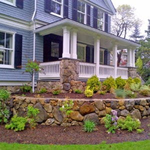 Porch railing and landscaping