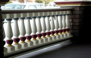 Painted Porch Spindles, Railing