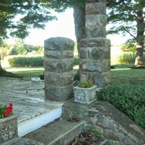 Stone pillars for porch rail posts