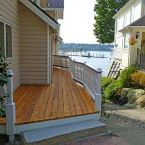 Flat sawn balusters on a side entry deck