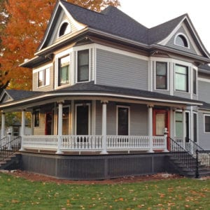 Victorian porch with rounded railing