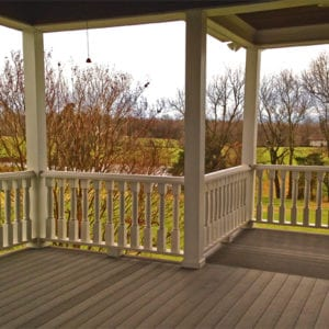 Custom turned balusters for a covered deck