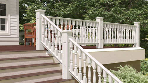 "4"" Wood Railing with 2 1/2"" Classic Wood Porch Spindles"