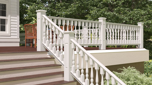 "4"" Wood Railing with 2 1/2"" Revival Wood Porch Spindles"