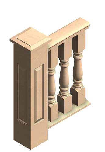 "6"" 3-piece Porch Rail System, 3 1/2"" turned balusters"