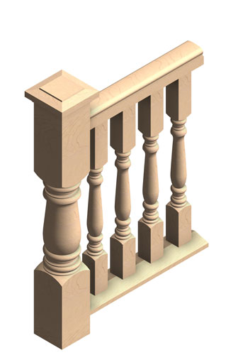 "2 1/2"" turned porch balusters, 4"" 3-piece Porch Rail system"