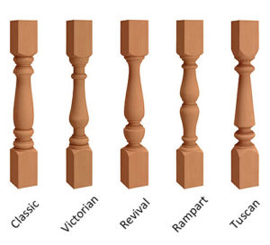 """3 1/2"""" Wood Porch Spindle designs"""