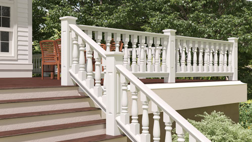"6"" Wood Railing with Classic Porch Spindles"