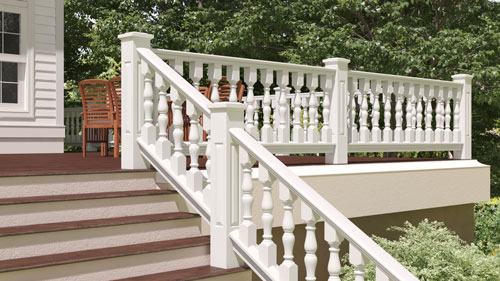 "6"" Wood Railing with Rampart Porch Spindles"