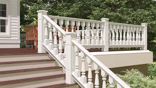 "6"" Wood Railing with Tuscan Porch Spindles"