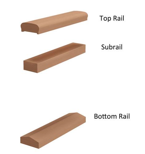 "4"" 3-piece Cedar Deck Railing"