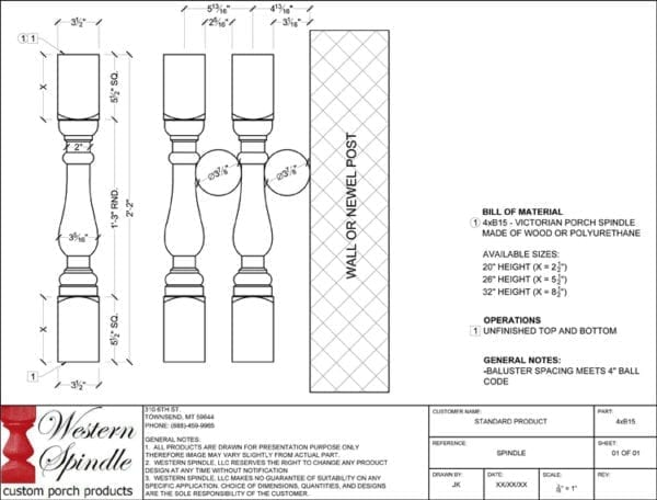 Victorian Porch Spindle CAD drawing