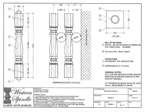 Classic Porch Spindle CAD drawing