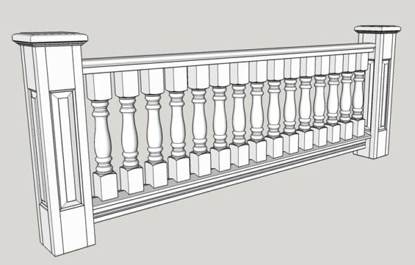 "3 1/2"" Classic porch spindles and raised panel newel 3D model"