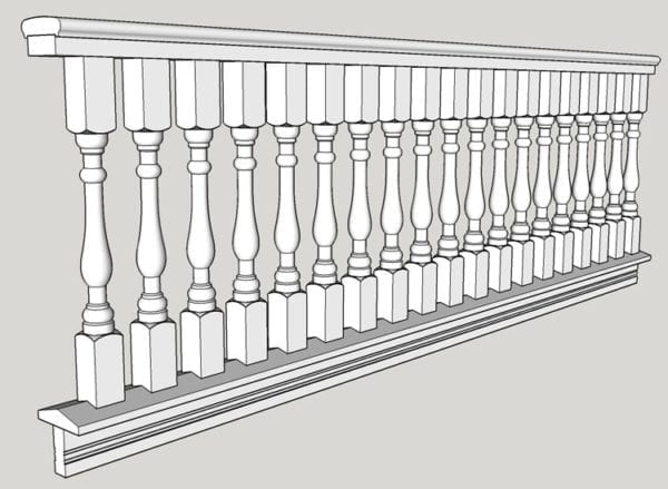 "2 1/2"" porch railing spindles drawing"