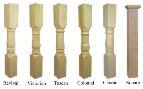 Turned and square cedar newel post options