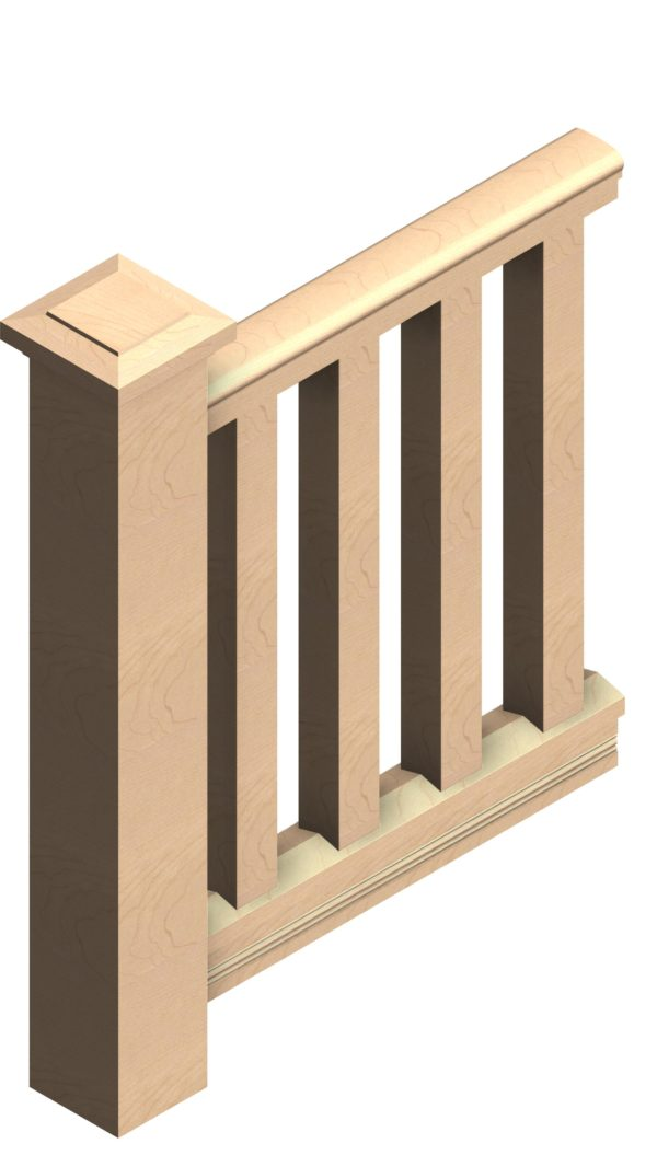 3x3 square porch balusters, 6x6 newel post, 4 inch porch railing