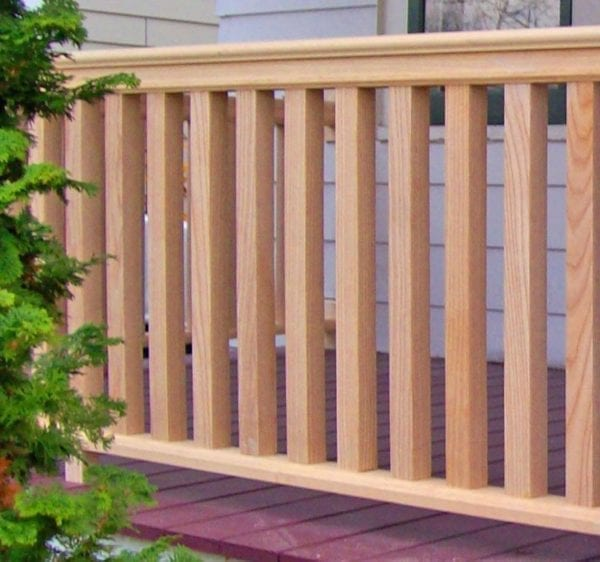 Square wood balusters, front porch