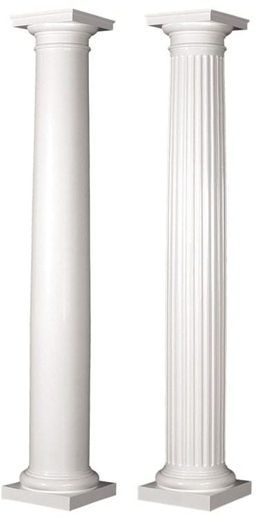 Round tapered columns, smooth and fluted