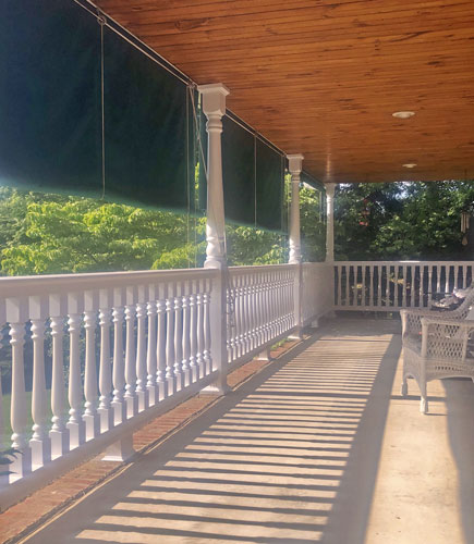 Polyurethane porch balusters & railing with shade