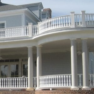 Curved porch railing, new construction
