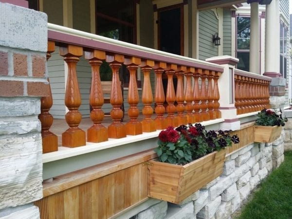 Revival porch spindles stained