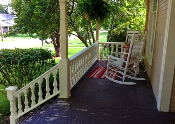 Victorian porch railing, cedar spindles