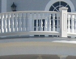 Covered entry curved porch railing