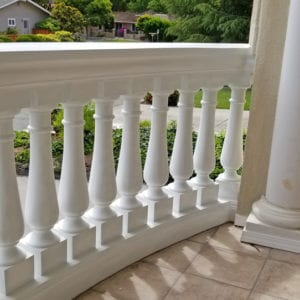 Curved Polyurethane Balcony Railing with Balusters