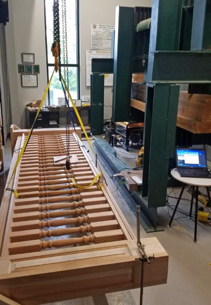 Testing wood porch railing as structural guardrail