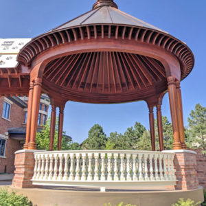 curved hardwood gazebo railing