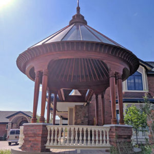 Curved gazebo hardwood railing