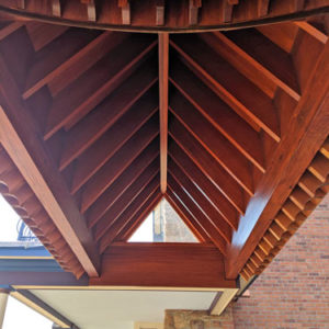 mahogany hardwood porch ceiling rafters