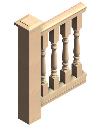 "4"" wood porch balustrade"